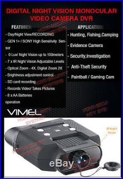 Binocular Night Vision 8GB Monocular Hunting Goggles Digital NV Game Camera