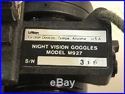 Litton Night Vision Goggles ELECTRON TUBE DIVISION Model M927 W Head Gear & Case