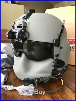 New Hgu56 Gentex Flight Pilot Helmet & Nvg, Mfs, Cep, Cobra MIC Medium Hgu 56